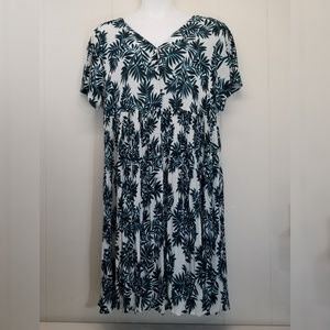 Woman Within 22W Dress Blue Floral Crinkle A Line